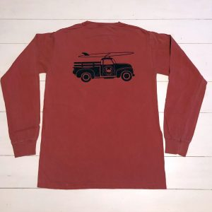 Adult Long Sleeve T-Shirt Nantucket red with Navy Truck