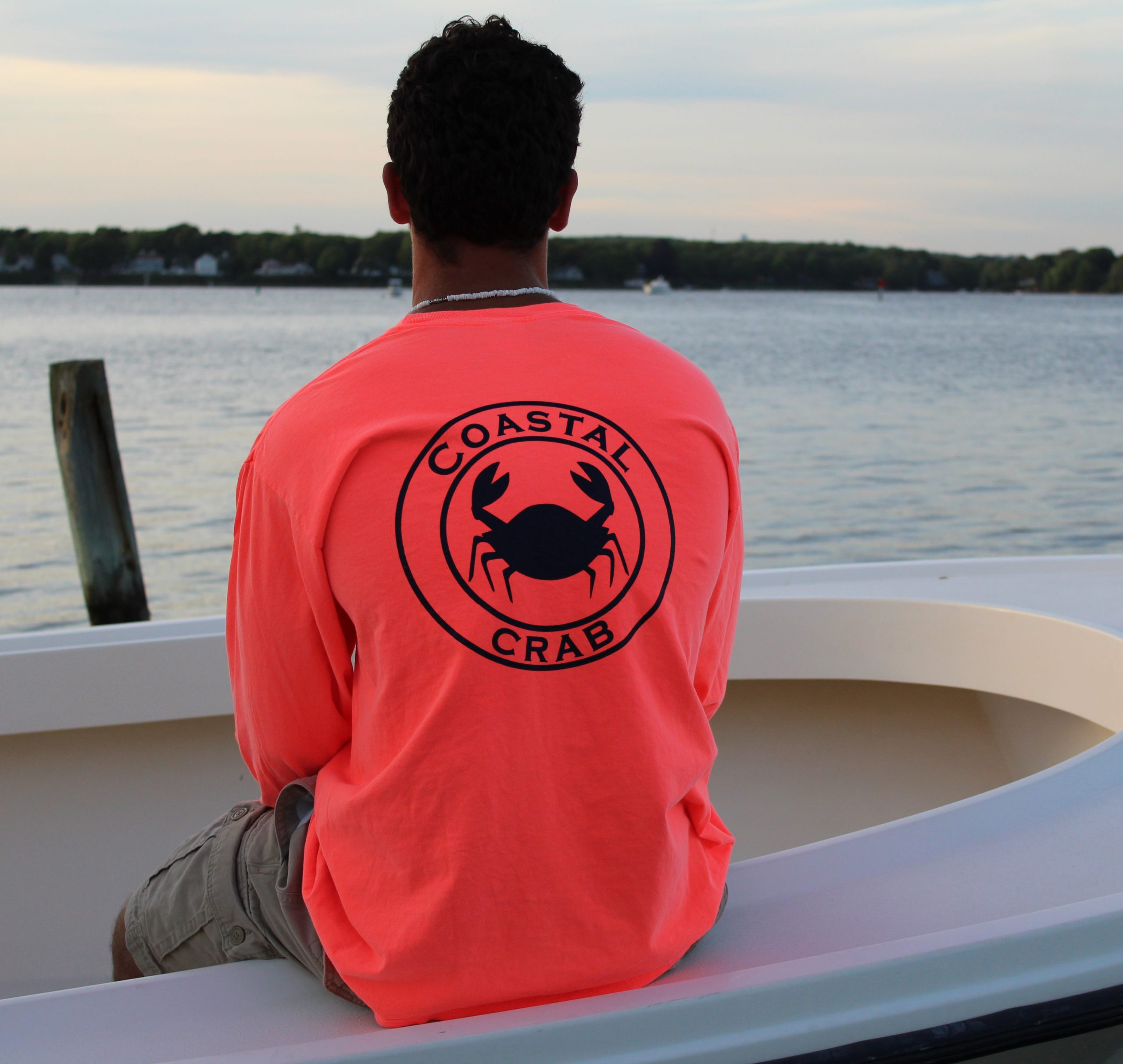 Adult Long Sleeve T-Shirt Neon Orange with Navy